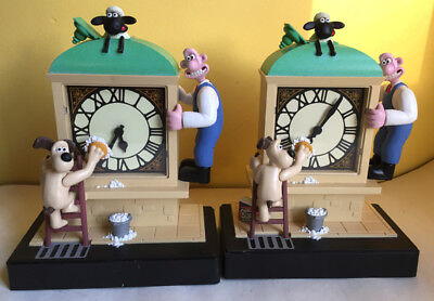2 Wallace & Gromit Moving Animated Analog Alarm Clocks FOR PARTS REPAIR