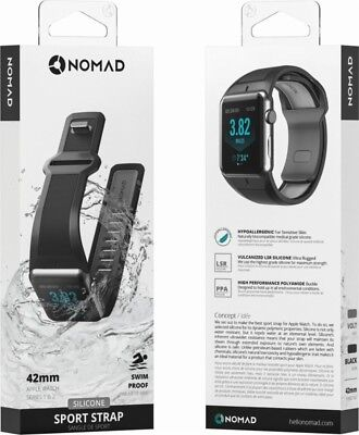 Nomad Sport Watch Strap for Apple Watch 42mm - Slate Gray on Black - In Box UD