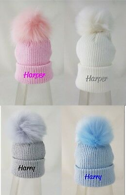 personalised or Plain embroidered 1 grey pink white fur pom Baby Girls Boys Hat