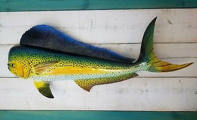 "Mahi Hand Painted 28"" Replica Dorado Wall Mount Sculpture Game Fish Salt Water"