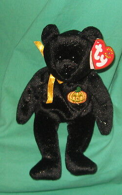 Haunt TY Beanie Baby Black Halloween Teddy Bear MWMT Birthday October 27 2000