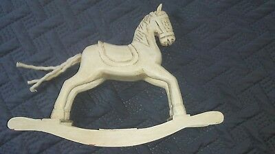 """Vintage Hand Carved Miniature Wooden Rocking Horse 8"""" Toy"""