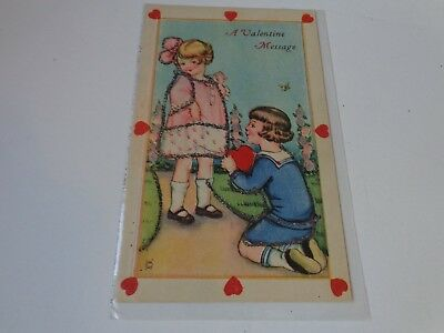 Antique vintage postcard A VALENTINE MESSAGE with glitter design early 1900s