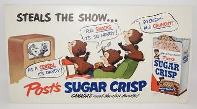 RARE 1950s Post SUGAR CRISP Steals The Show 11x20 Cardboard Trolley / Bus Sign