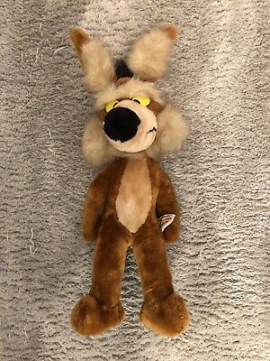"""Vintage 1971 Mighty Star LOONEY TUNES Plush 18"""" WILE E COYOTE w/ Posable Ears"""