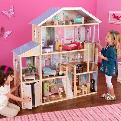 Large Doll House Big Barbie Wooden Mansion Accessories Girls