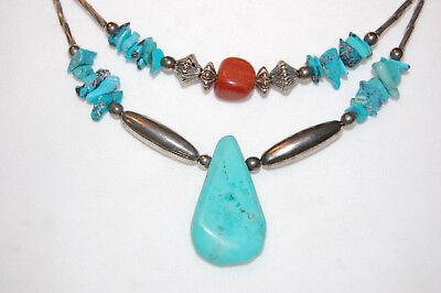 Vntg. Native American Liquid Sterling Silver Turquoise/Red Spiny Oyster Necklace