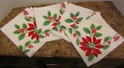 Set Of 4 Vintage Red Printed Poinsettias & Holly Christmas Dinner Napkins