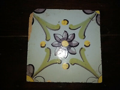 Antique Spanish Tile Around Late 18Th Or Early 19Th Century