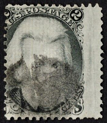"""US Sc# 84 USED { RARE """"D"""" GRILL } 2c BLACK JACK """"SCARCE FROM 1867 CV$ 4,500.00"""