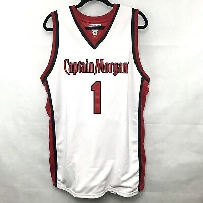 Captain Morgan Basketball Jersey Tank Top Red Black White Embroidered Sewn XL