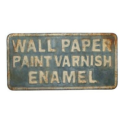 Large Paint and Varnish Vintage Antique Style Wall Stamped Tin Sign 3d Lettering