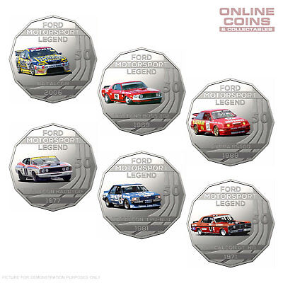 2018 FORD MOTORSPORT COLLECTION - 50c UNCIRCULATED COLOURED COIN SET OF 6