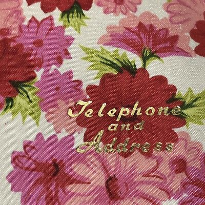 Telephone & Address Book Flowers 1960s Retro Pink Vintage