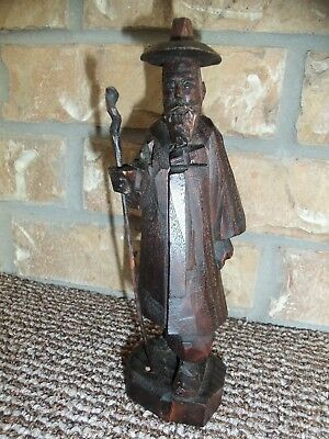 Vintage Carved Wooden Asian Oriental Man  Figurine