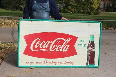 "Large Vintage c.1960 Coca Cola Fishtail Soda Pop Gas Station 56"" Metal Sign"