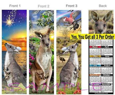 3-KANGAROO 2019 CALENDAR BOOKMARK Australia Joey Wallaby bird Card Perfect Gift
