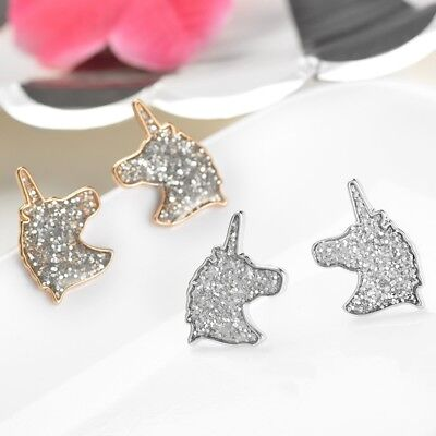 A Pair of New Design Unicorn Stud Earrings For Girls Gift Crystal Party Jewelry