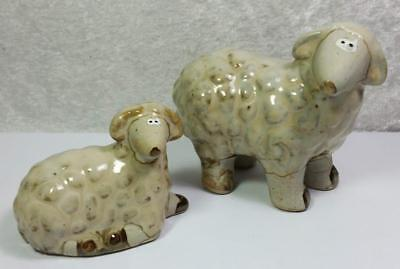 Lot of 2 Pottery Sheep Figurines Rustic Tan Brown Farm Farmhouse Cottage Country