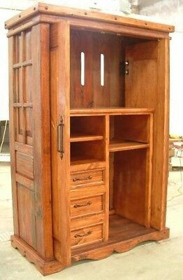 Vintage Armoire Wardrobe Cabinet Drawer w/ Pocket Doors Iron Solid Wood Storage