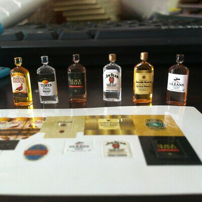 6Pcs Dollhouse 1:12 Miniature Wine Whiskey Bottles Shop Pub Bar Drink Accessory