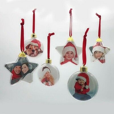 Christmas DIY Photo Frame Pendant Tree Hanger Picture Home Party Decor Ornaments