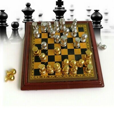 Dollhouse Miniature 1:12 Toy Metal Silver & Golden Chess and Board Set Play Game
