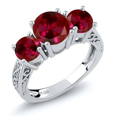 2.75 Ct Round Red VS Created Ruby 925 Sterling Silver 3-Stone Ring