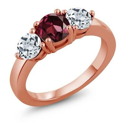 2.20 Ct Round Red Rhodolite Garnet White Topaz 18K Rose Gold Plated Silver Ring