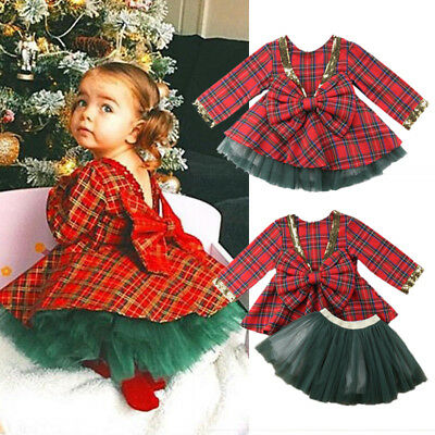 Cute Xmas Toddler Kids Baby Girls Party Plaid Long Sleeve Dress Skirt Clothes US