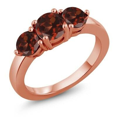 2.20 Ct Round Red Garnet 18K Rose Gold Plated Silver Ring
