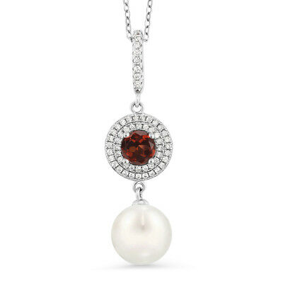 1.22 Ct Round Red Garnet 925 Sterling Silver Shell Pearl Pendant