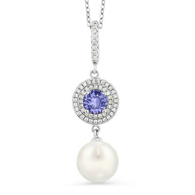 1.32 Ct Round Blue Tanzanite 925 Sterling Silver Shell Pearl Pendant