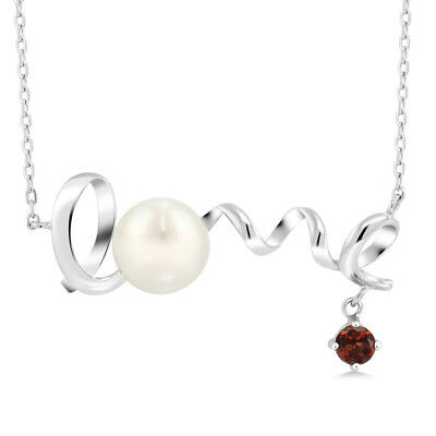 0.40 Ct Round Red Garnet 925 Sterling Silver Pearl Pendant With Chain