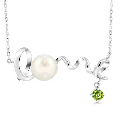 0.45 Ct Round Green Peridot 925 Sterling Silver Pearl Pendant With Chain