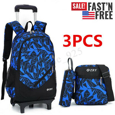 3PCS Kids Boy Students School Bag Trolley Backpack Satchel With Wheels Removable