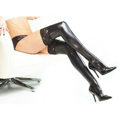 PVC Stockings Lady Gift Hold Up Wet Look Faux Leather Stockings Black Socks Fit