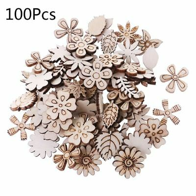 100pcs Laser Cut Wood Flowers and leaves Embellishment Wooden Shape Craft Decor