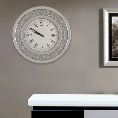 Diamond Crushed Crystal Large Sparkly Silver Mirrored Round Wall Clock Hanging