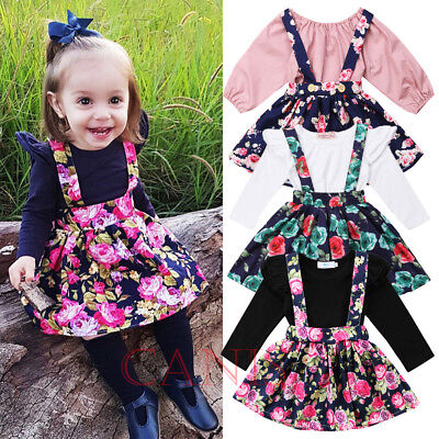 Nwt Toddler Kid Baby Girl Tops Floral Suspender Skirt Dress Outfits Set Clothes