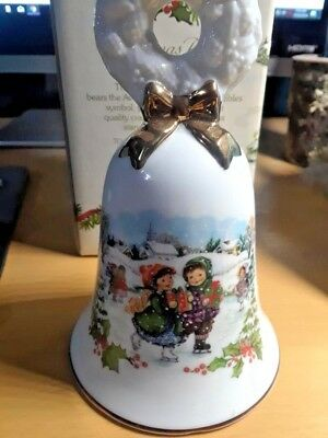 Vintage 1986 Avon porcelain christmas Bell  decor New in box