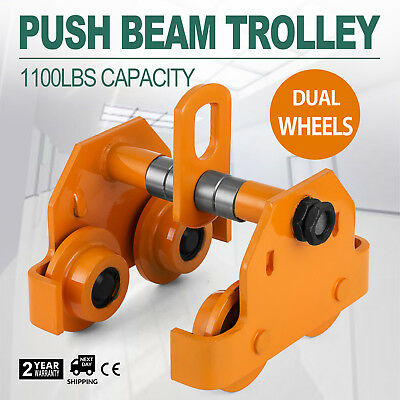 1/2 Ton Push Beam Track Roller Trolley Washers Included Dual Wheels Solid Steel