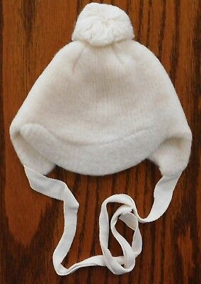 Vintage white baby bonnet 1950s Moorcraft bobble pram hat boy girl DISPLAY ONLY
