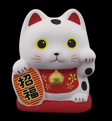 Tirelire chat japonais chance 10cm ceramique Made in Japan Maneki Neko 40587