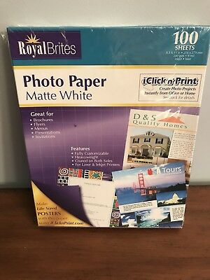 Royal Brites Matte Coated Photo Paper 2 Sided Heavy Weight 85 X