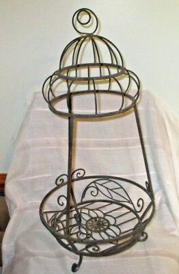 Vintage Scrolled Wrought Iron 3 Leg Standing/Hanging Round Planter Pot Stand