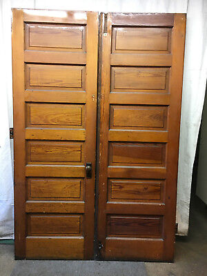 "Set of two Pine Raised 6 Panel French Doors Woodgrain Antique 60""x90"""