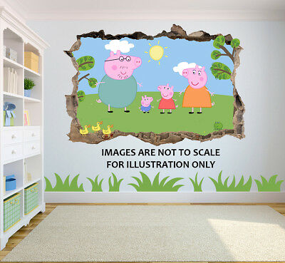 Peppa Pig 3D Breakout Effect Graphic Wall Vinyl Sticker Decal
