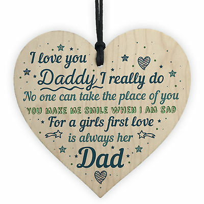 Dad Gifts From Daughter Son Hanging Wooden Heart Daddy Birthday Card