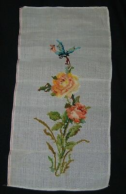 Vintage Crewel Flowers Canvas Sewing Art Orange Yellow Floral Blue Butterfly 22""